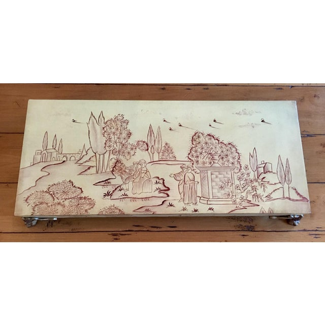 Asian Vintage Mid-Century Sarreid Ltd. Chinoiserie Painted Mural Decorative Box For Sale - Image 3 of 9