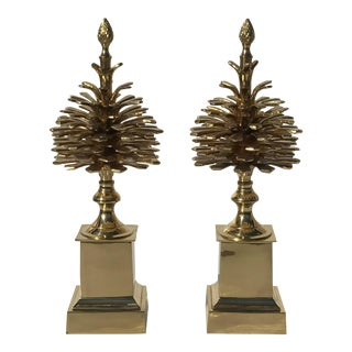 """Brass """"Pommes de Pin"""" Pinecones Style of Maison Charles - a Pair For Sale"""