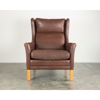 Børge Mogensen Style Danish Leather Wingback Lounge Chair Preview