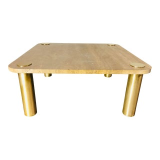 1970s Mid-Century Modern Karl Springer Travertine & Brass Coffee Table For Sale