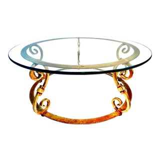 Superb Italian Full Gold Gilt Base W/ Round Glass Top Coffee Cocktail Table For Sale
