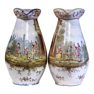 19th Century French Hand-Painted Faience Wine Pitchers - A Pair