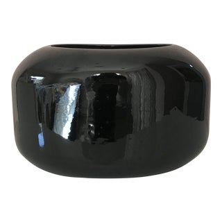 Vintage 1980s Black Ceramic Vase For Sale