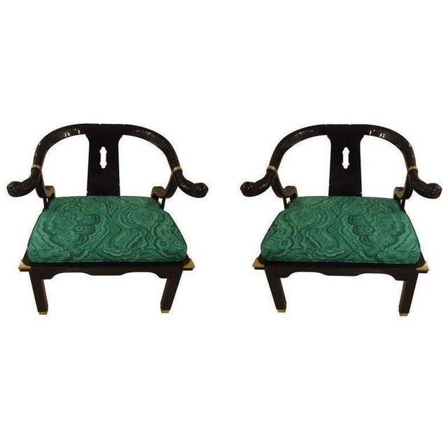 Mid-Century Black Lacquer Chinese Style Chairs - a Pair For Sale - Image 4 of 4