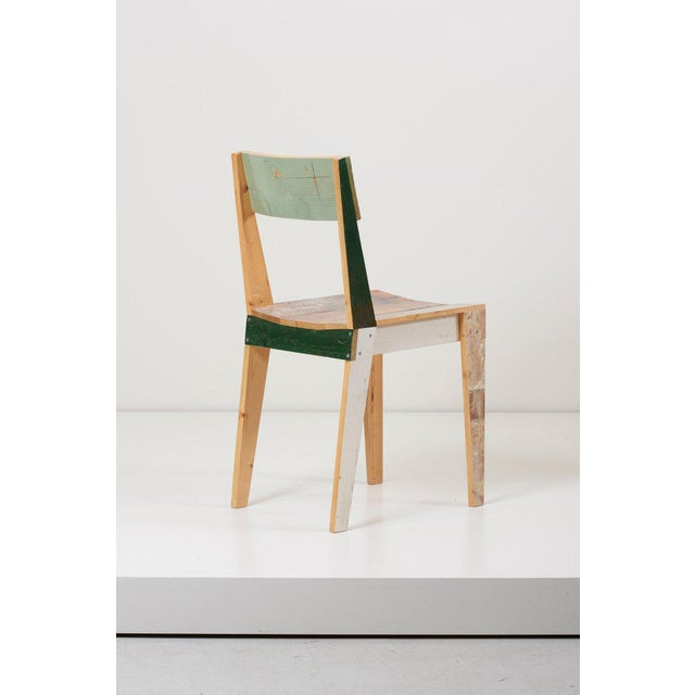 Set of Four Lacquered Oak Chairs in Scrapwood by Piet Hein Eek For Sale - Image 10 of 13