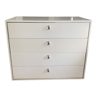 Vintage Jon Stewart Mid Century White Lacquer and Chrome Commode or Dresser For Sale