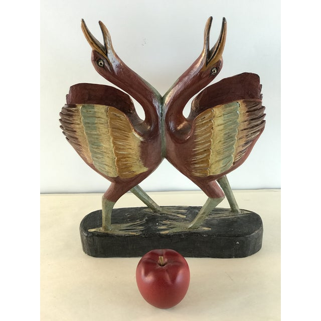 Charming hand painted and carved wood. Pair of love birds during their courtship. Eye catching and graceful.