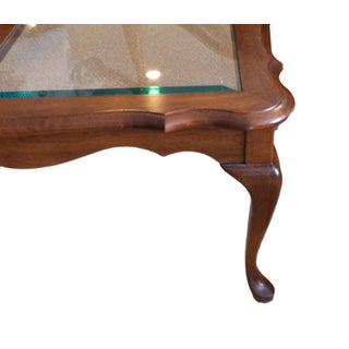 1990s Vintage Pennsylvania House Queen Anne Style Cherry and Glass Coffee Table Preview