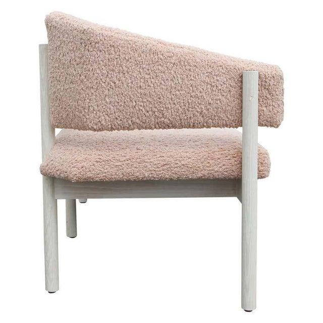2020s Custom Postmodern Angular Pink Shearling Style White Oak Loveseat / Bench/ Sofa For Sale - Image 5 of 10
