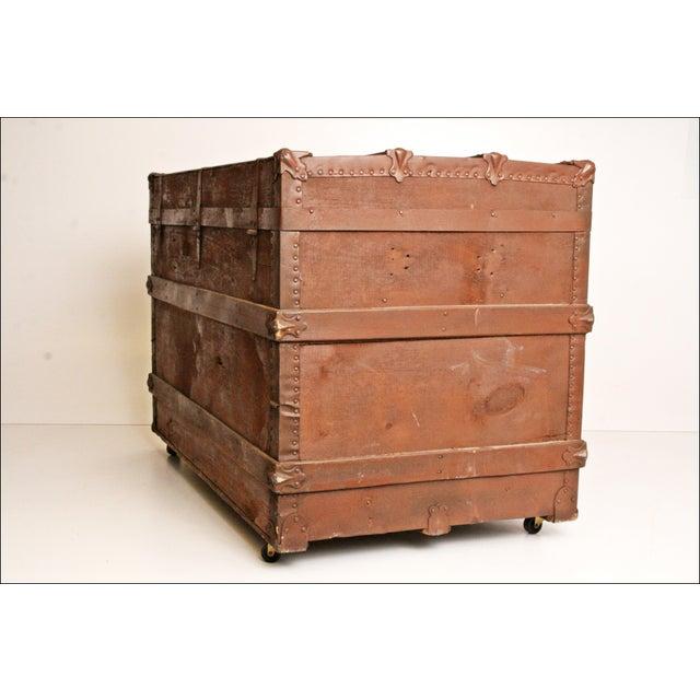 Vintage Brown Wood Steamer Trunk - Image 6 of 11