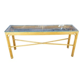 Mid Century Modern Bamboo Console Table For Sale