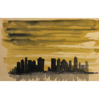Watercolor of a Skyline Painting - 1965 For Sale