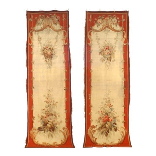 French Victorian Aubusson Wall Hanging Textiles - a Pair For Sale