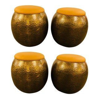 Modern Brass Ottomans, Stools or Side Table With Fine Leather For Sale