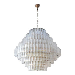 Large Custom Tiered Murano Chandelier With Clear Glass Tubes For Sale