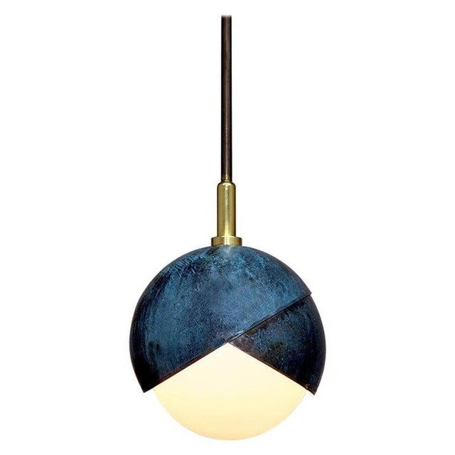 Not Yet Made - Made To Order Benedict Pendant in Prussian Blue, Polished & Blackened Brass Details With Opal Glass For Sale - Image 5 of 5