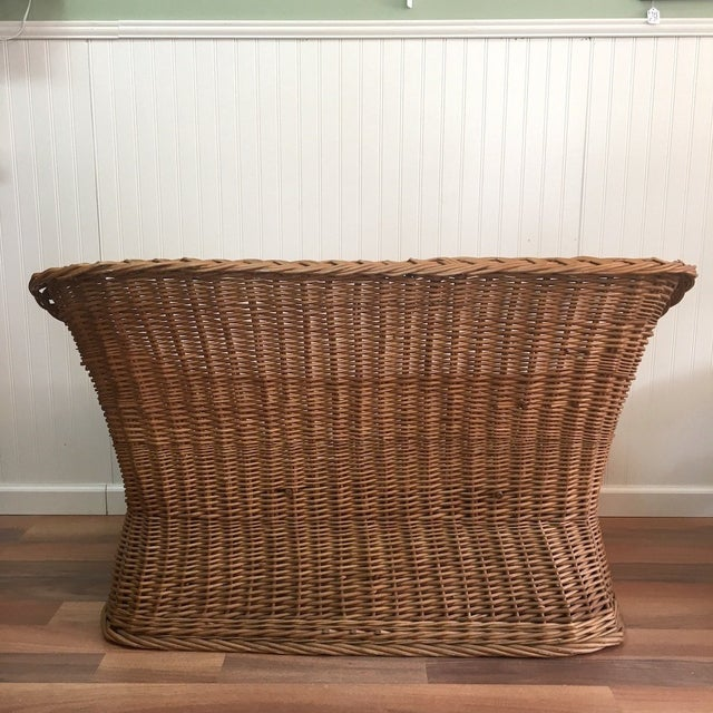 1970s 1970s Wicker Tub Settee Natural Rattan Love Seat For Sale - Image 5 of 9