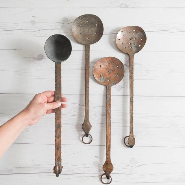 Islamic Vintage Hammered Copper Serving Spoons - Set of 4 For Sale - Image 3 of 8