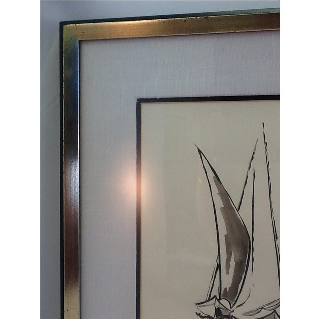 Mid Century Sailboat Painting. Black Ink Original Signed Sailboat Painting - Image 8 of 10