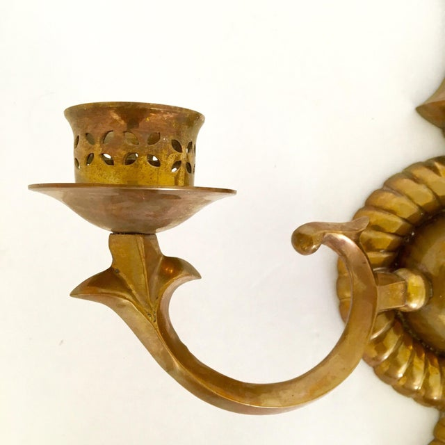 Brass Two Arm Sconces- Pair - Image 7 of 9