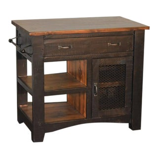 "Crafters and Weavers Greenview Kitchen Island - Distressed Black - 39"" For Sale"