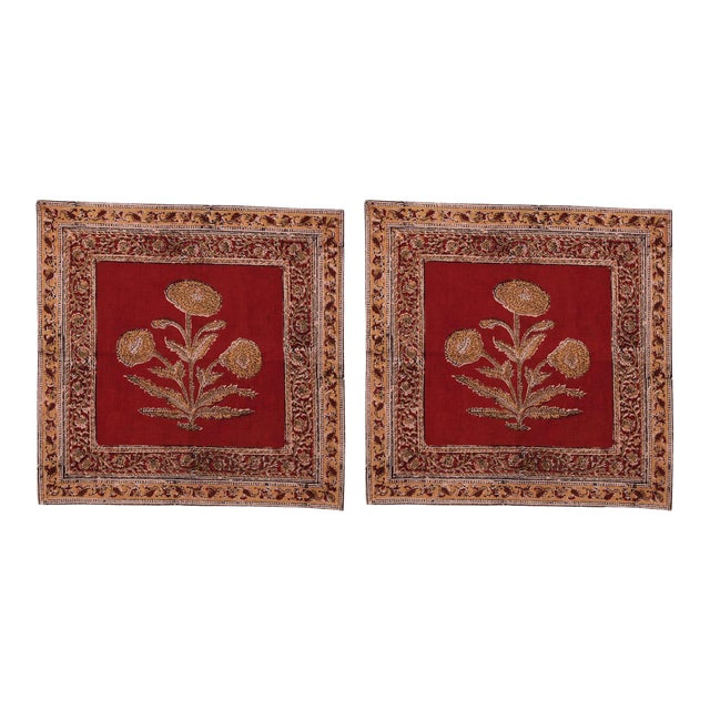 Poppy Napkins, Maroon - A Pair For Sale
