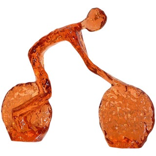 Contemporary Tangerine Orange Modern Lucite Sculpture of Minimalist Cyclist For Sale