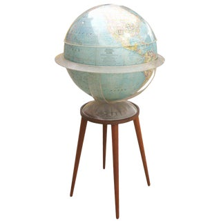 National Geographic Illuminated Globe with Custom Walnut Stand For Sale
