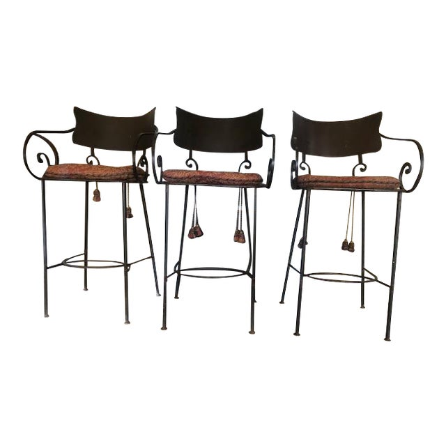 1960s Vintage Metal Tall Bar Stools- Set of 3 For Sale