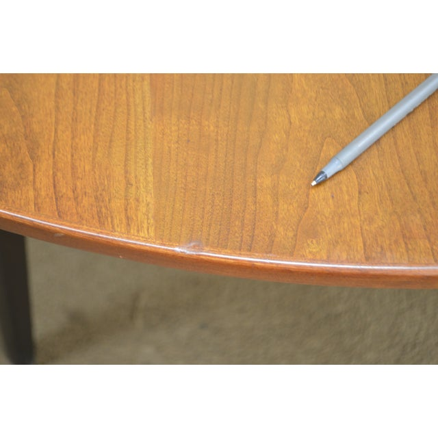 """Brown Dunbar Edward Wormley Mid Century Modern 54"""" Cherry & Walnut Dining Table (Opens 10 Feet) For Sale - Image 8 of 13"""