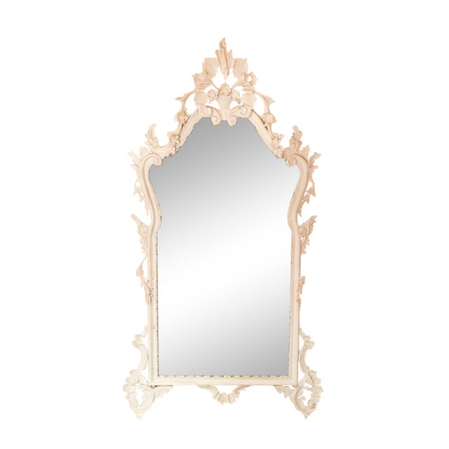 White Mid Century Ornate Carved Wood Mirror For Sale - Image 8 of 8
