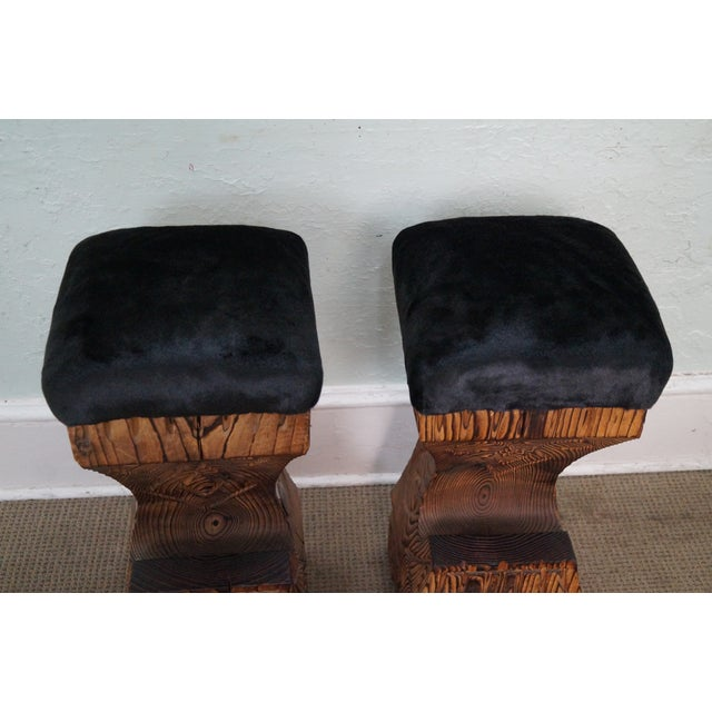 Vintage 1970s Witco Carved Tiki Bar Stools -- A Pair - Image 6 of 10
