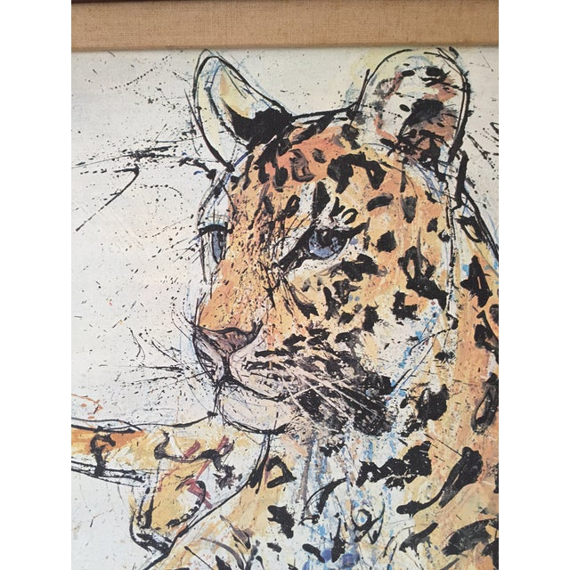 1970s Vintage Leopard Lithograph on Canvas - Image 3 of 10