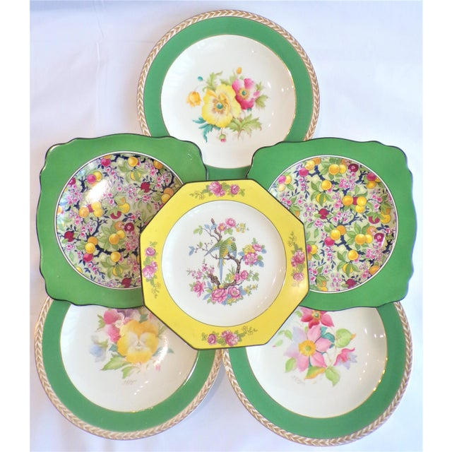 Crown Ducal (Final Markdown) 930's Crown Ducal Ware Chintz Plates - Set of 6 For Sale - Image 4 of 13