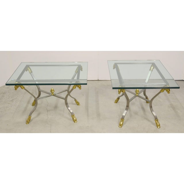 Pair of Steel, Brass and Glass Side Tables For Sale - Image 4 of 11