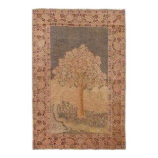 1910s Antique Kayseri Beige Green Floral Wool Rug- 4′ × 6′ For Sale