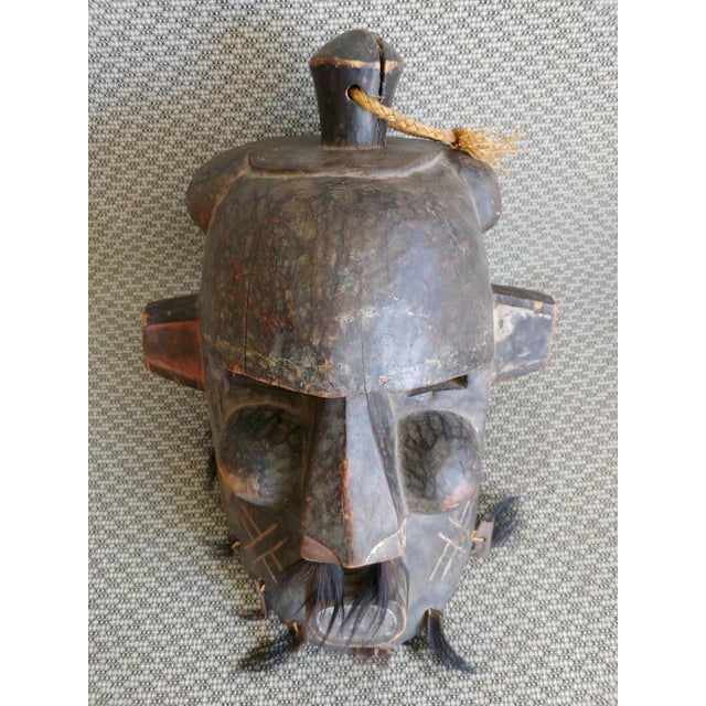 Wood Early 20th Century African Carved Wood Full Head Mask For Sale - Image 7 of 11