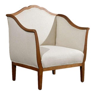 Italian Walnut Upholstered Club Armchair For Sale