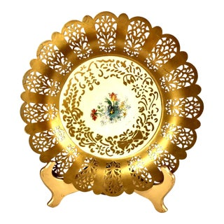 Filigree Toleware Hand Painted Decorative Plate With Stand For Sale
