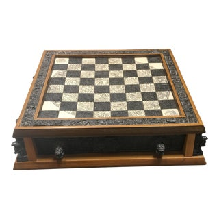 Antique Etched Hand Carved Marble Chess Board For Sale