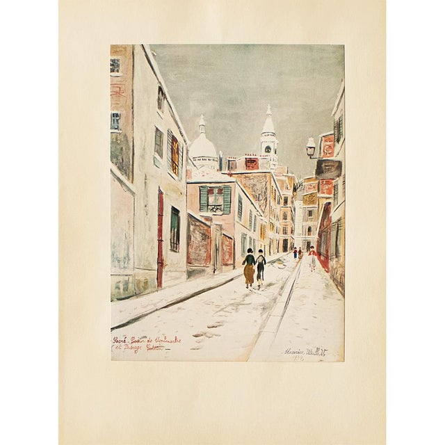 """Turquoise 1950s Maurice Utrillo, """"Sacre-Coeur De Montmartre and Passage Cottin"""" First Edition Lithograph For Sale - Image 8 of 8"""