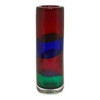 Fulvio Bianconi for i.v.r. Mazzega Fasce Orizzontali Glass Vase Ca. 1960 For Sale