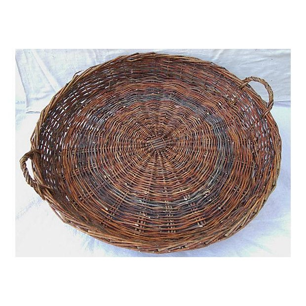 Large French Woven Willow Grape Harvest Basket - Image 8 of 9