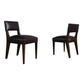 Costantini Bruno Low Side Chair in Argentine Rosewood and Leather For Sale