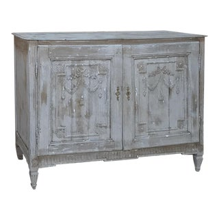 18th Century Country French Distressed Painted Finish Buffet For Sale