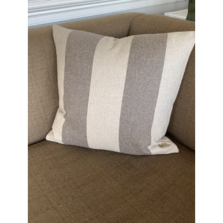 Italian FirmaMenta Eco-Friendly Brown and Cream Stripes Wool Pillow Preview