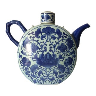 White & Blue Chinoiserie Tea Pot