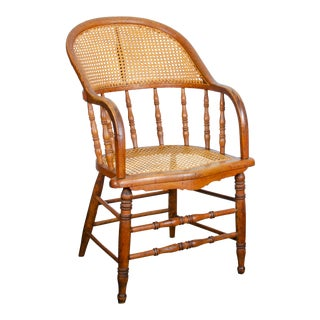 Late 19th Century Antique Bent Oak & Cane Spindle Chair For Sale