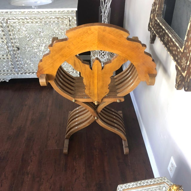20th Century Moroccan Hand Carved Mother of Pearl Inlay Folding Chair For Sale - Image 4 of 10