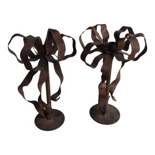 1960s Rustic Sculpted Candle Holders - a Pair For Sale
